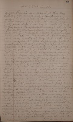This minute book consists of a combination of handwritten entries and newspaper clippings that document the educational programs, social activities, civic reform efforts and philanthropic initiatives of the Athens, Georgia-based Athens Woman's Club between the years of 1899 and 1911. The bulk of this material reflects the club's local interests that served the greater Athens and Clarke County area; however, many entries also show how the Athens Woman's Club served in state and national roles, specifically through its associations with the Georgia Federation of Women's Clubs and the General Federation of Women's Clubs. The minutes reflect the club's interest in major social reform issues of the Progressive Era, which included the legal regulation of child labor, the improvement of public health facilities and practices and the establishment and modernization of educational facilities. The Athens Woman's Club succeeded in founding both the East and West Athens Free Kindergartens and campaigned for an industrial training school in Tallulah Falls, Georgia. Also of interest in this collection are materials that speak to the club's role in the establishment of a day nursery for local African American children and continued involvement with traveling libraries throughout the state.