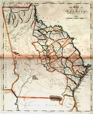 For Matthew Carey, his cartographers, and engravers updating their Georgia maps for a new atlas involved added another tier or two of counties, and by 1814 the county boundaries had became an essential part of any large-scale Georgia map.